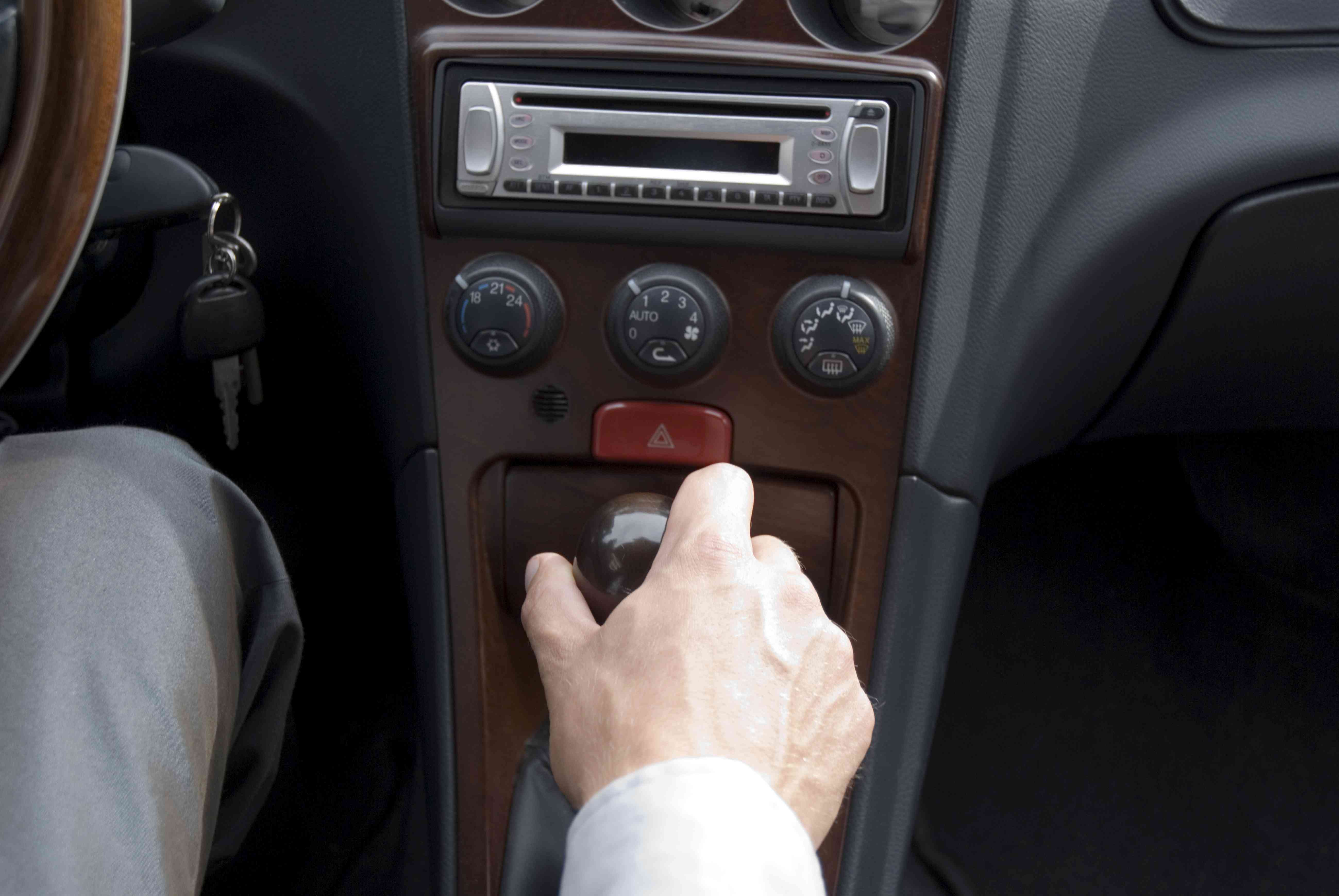 A replacement head unit in a car.