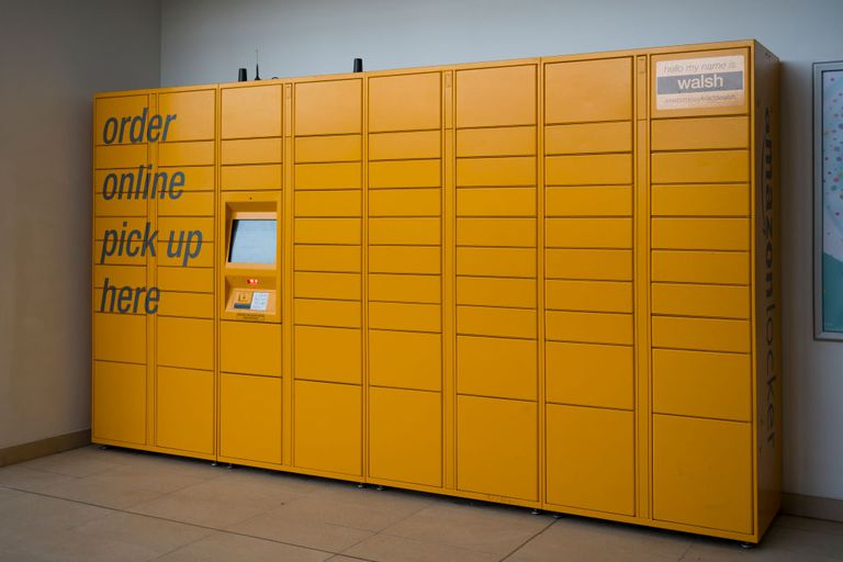 Group of Amazon lockers for online pickup