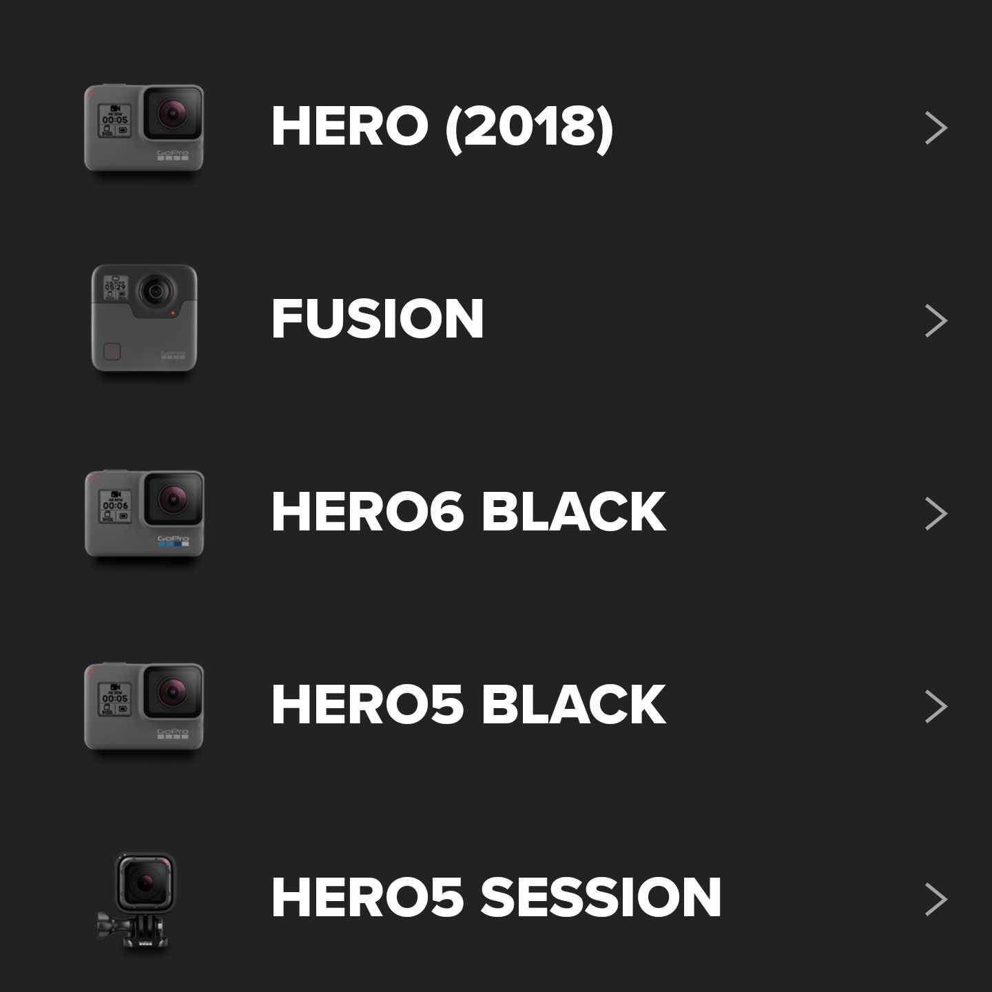 GoPro app list of camera models you can pair.