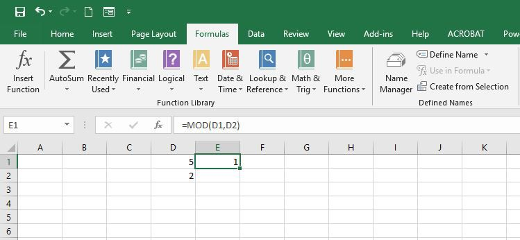 Showing the MOD formula in Excel.