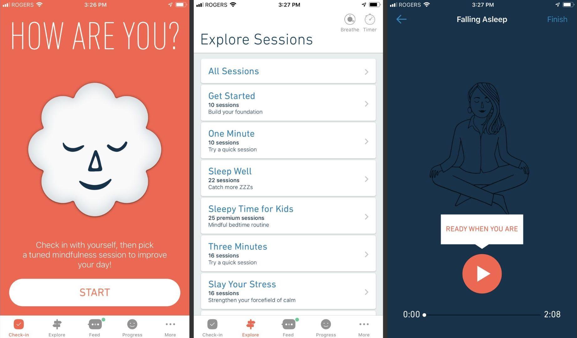 Three screenshots of the Stop, Breathe & Think app.