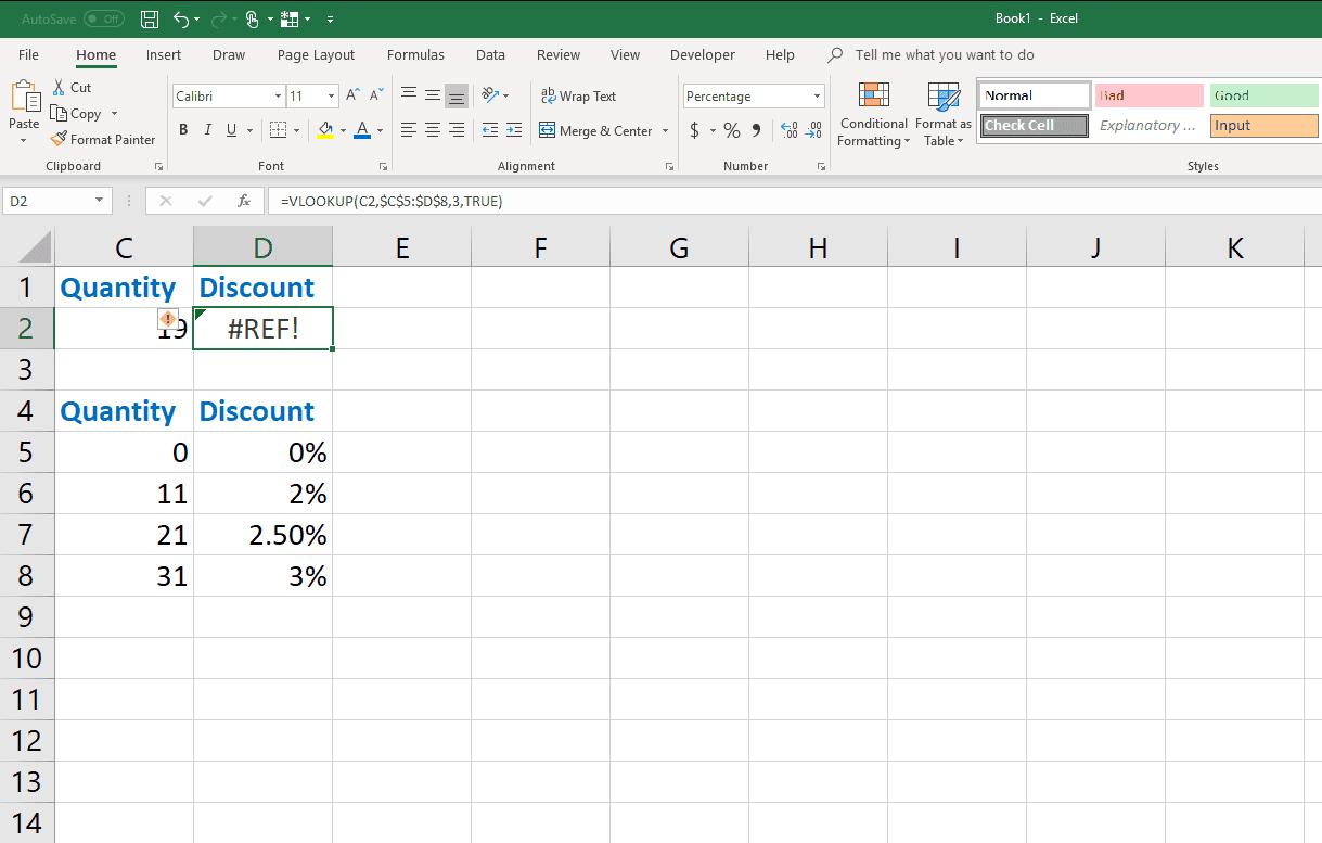 An example of the VLOOKUP #REF! error in Excel.