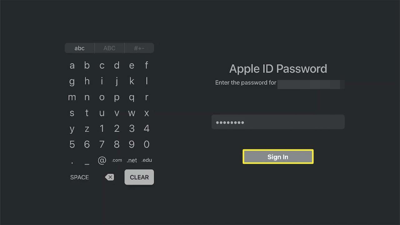 Sign In highlighted in the Apple TV app.