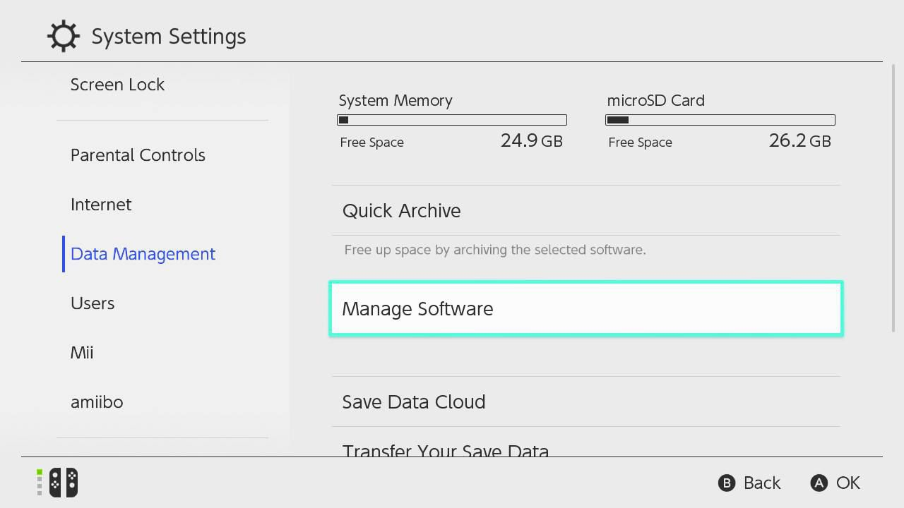 Scroll down and select Data Management > Manage Software.