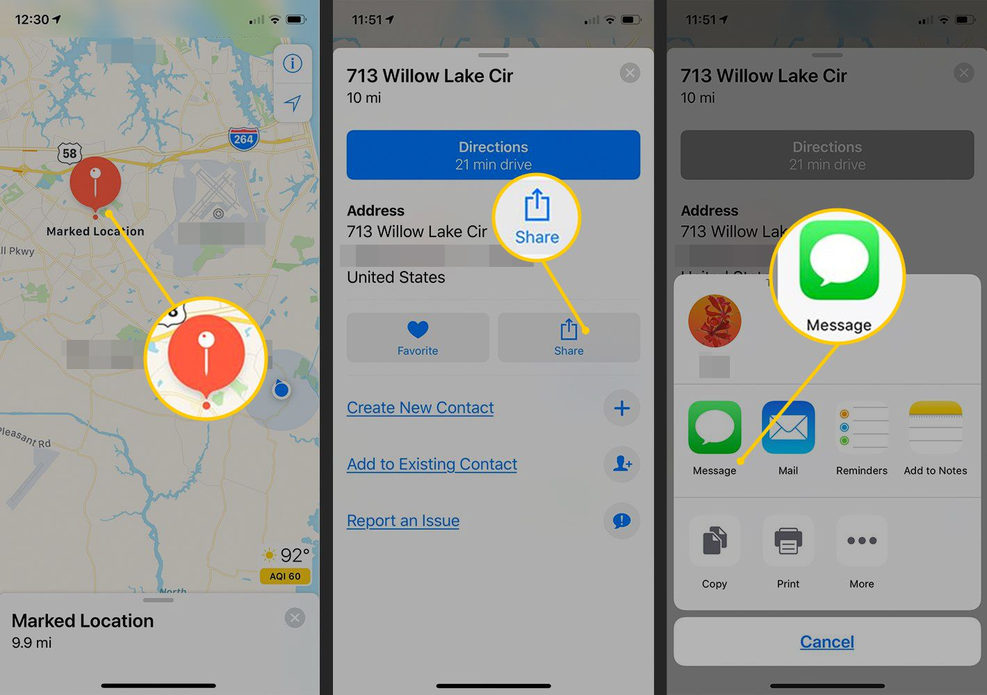 Marked location, Share button, Message button in iOS Maps