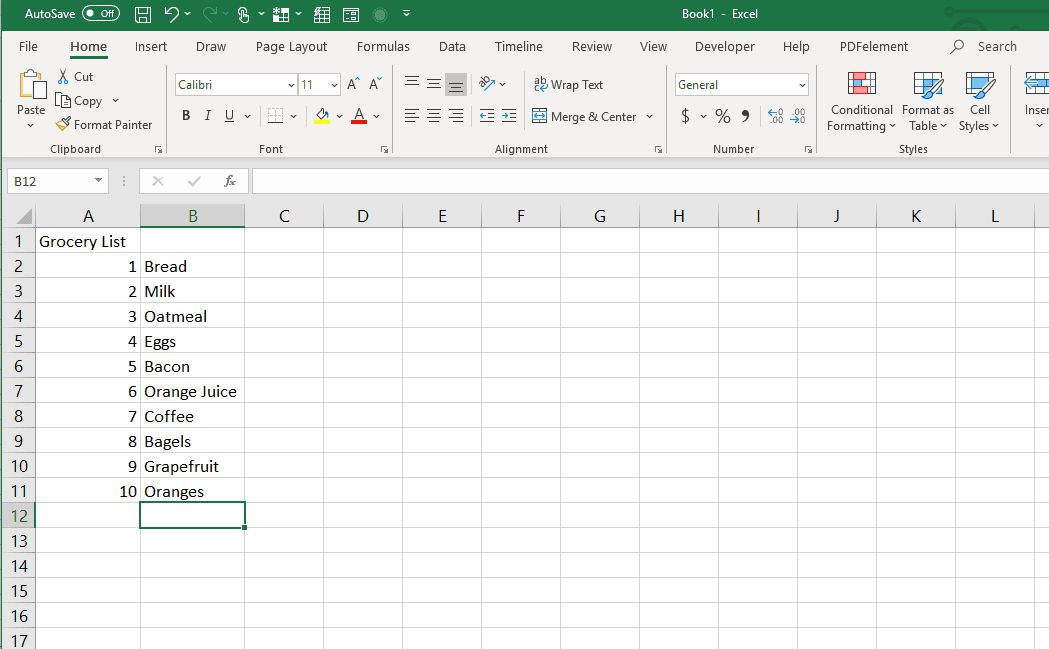 Completing a numbered list in Excel