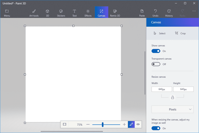 Screenshot of a new, blank canvas in Paint 3D