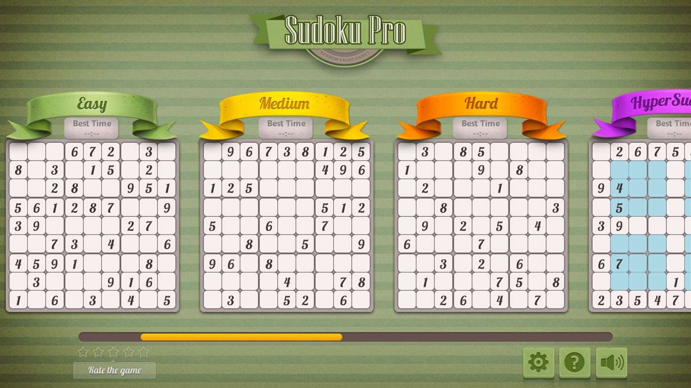 A variety of puzzles in increasing difficulty in Sudoku Pro.