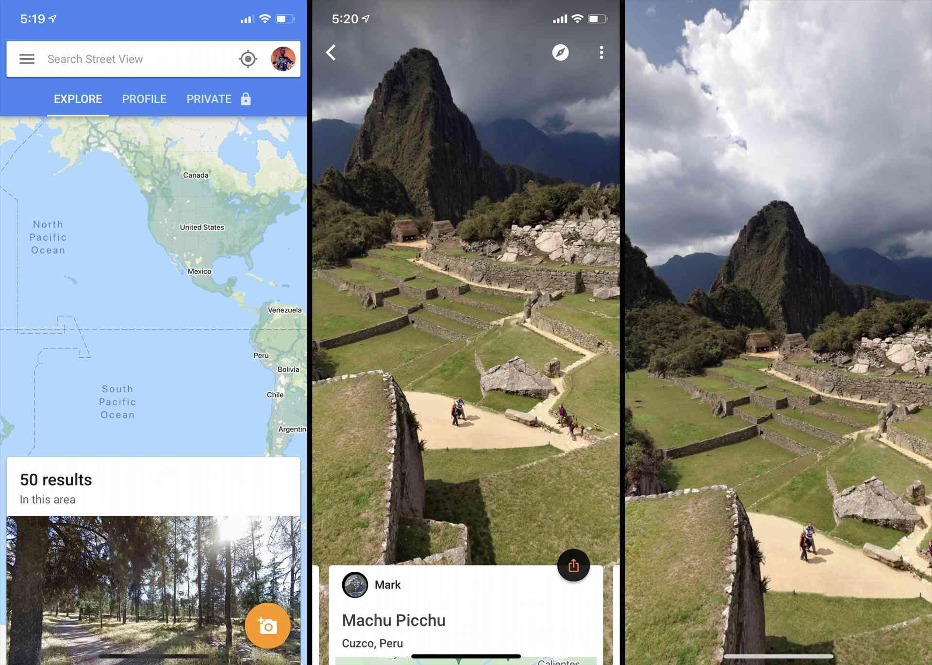 Machu Picchu as seen in Google Street View iPhone app