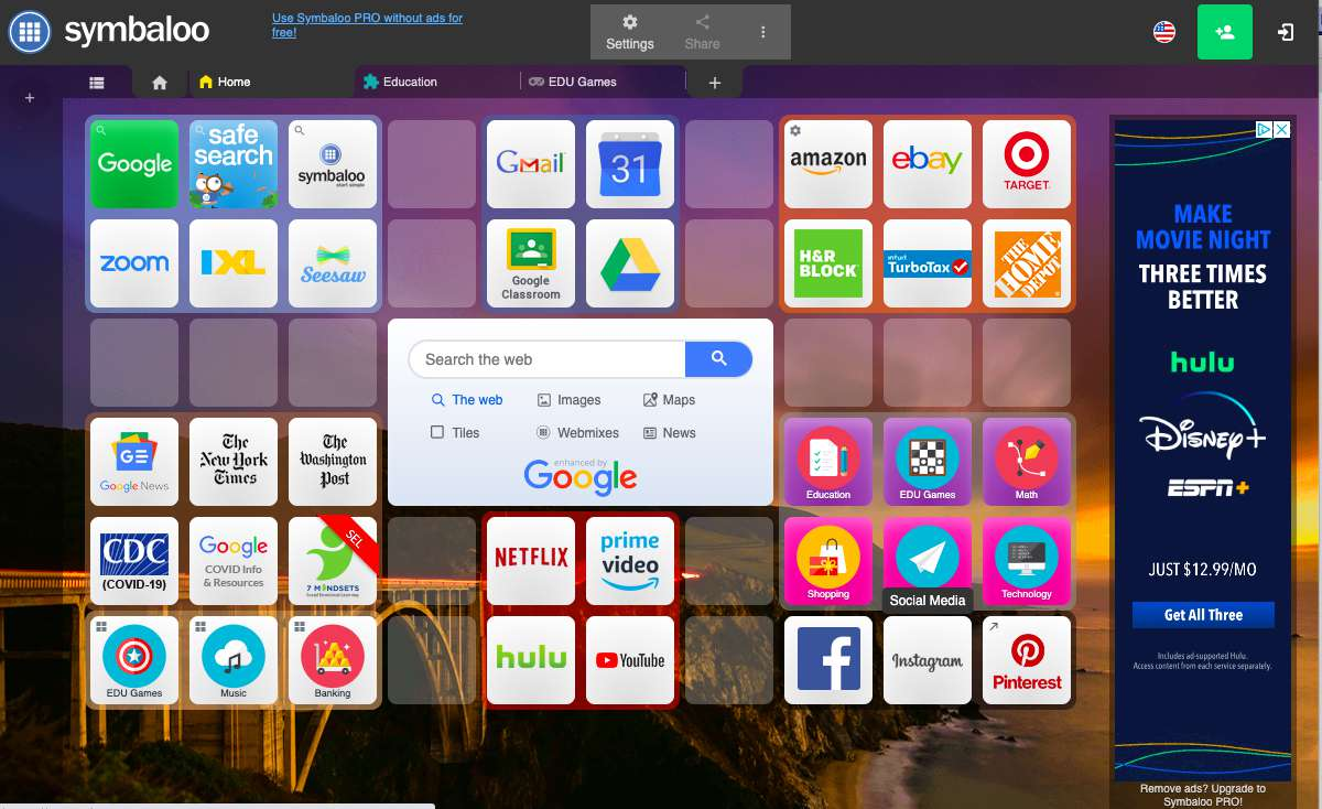 Symbaloo home page