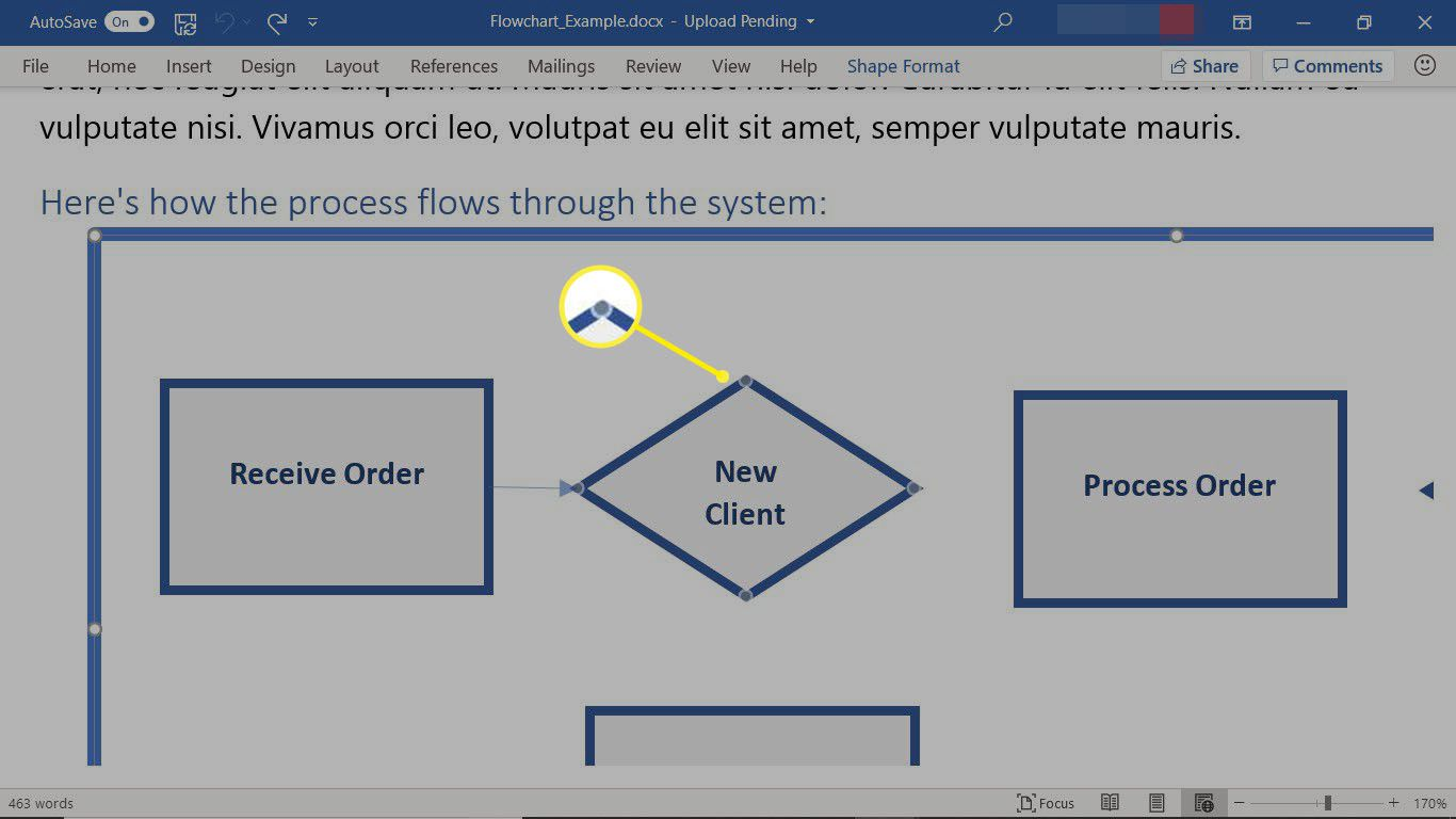 A flowchart in Word showing how to draw a connector line