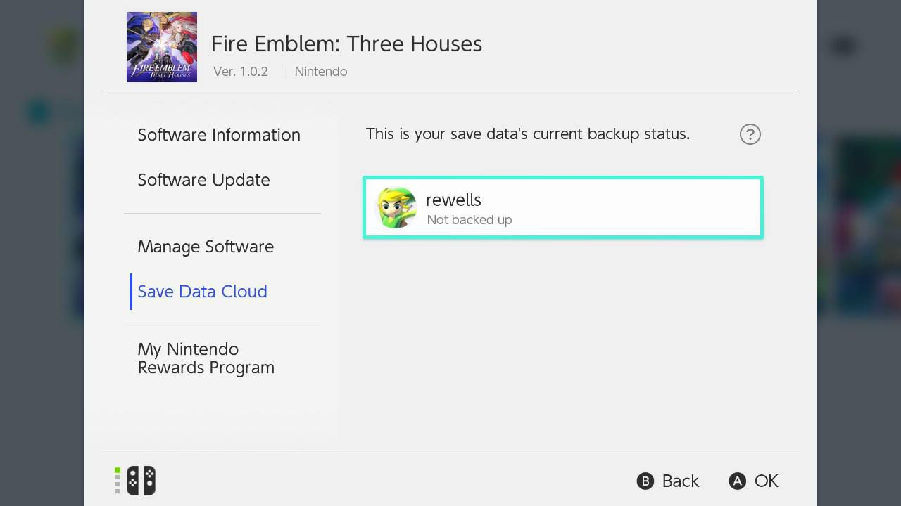 Press plus and select Save Data Cloud to back up your save data to your Nintendo Switch Online account.