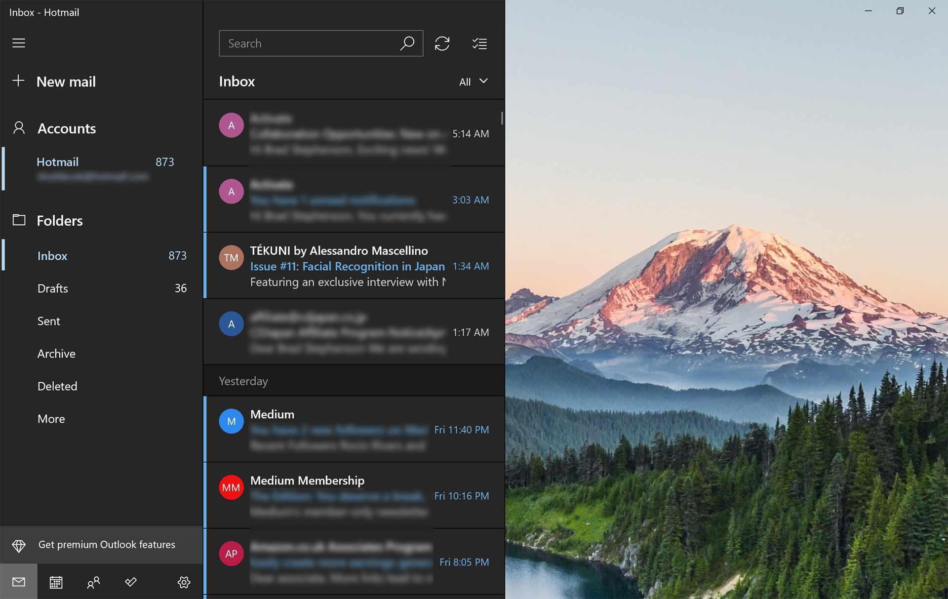 Windows 10 Mail app on Surface Pro 7.