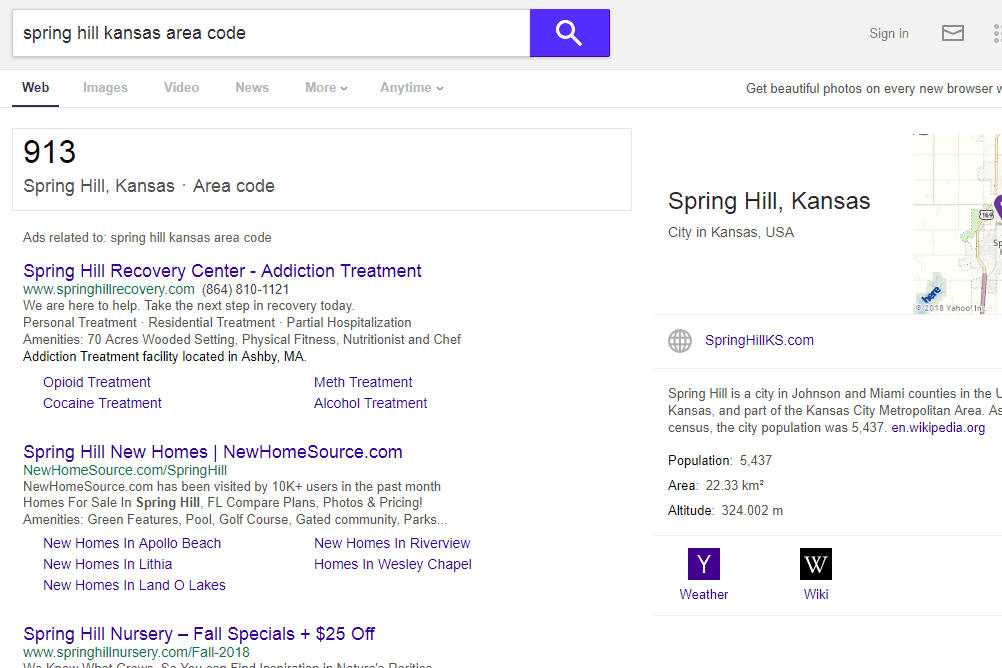 Yahoo area code finder tool
