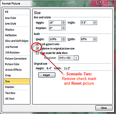 Reset picture back to original properties to avoid distortion on portrait slide
