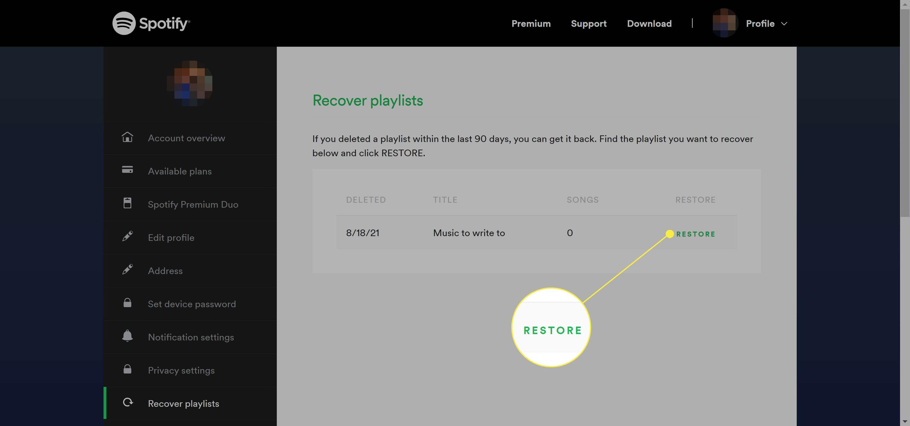 Spotify Restore Playlists web page.