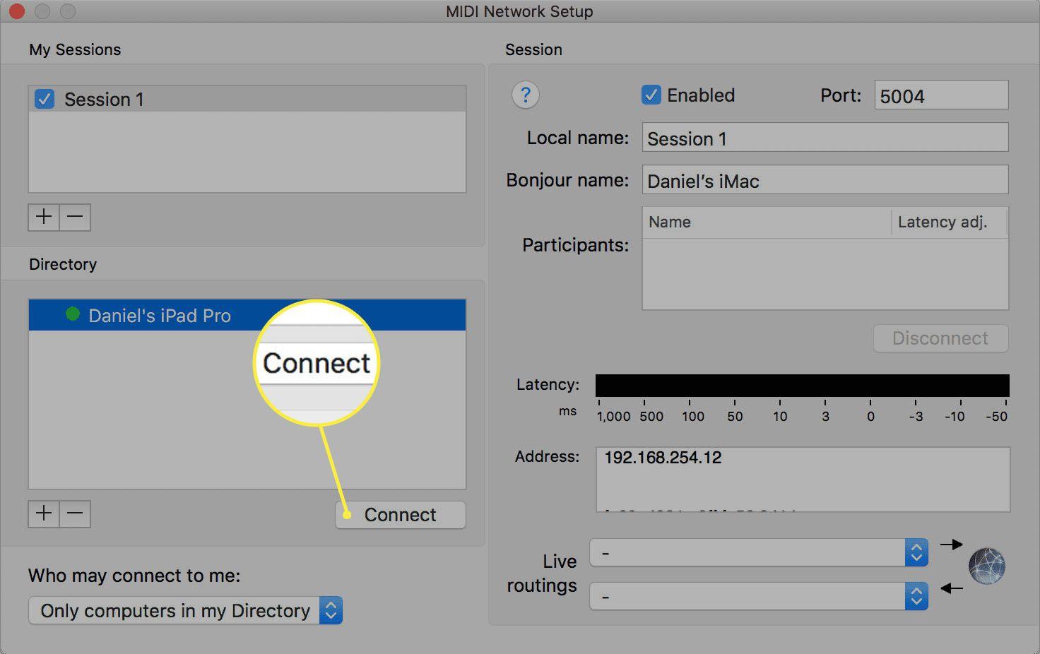 The MIDI network setup screen on the Mac