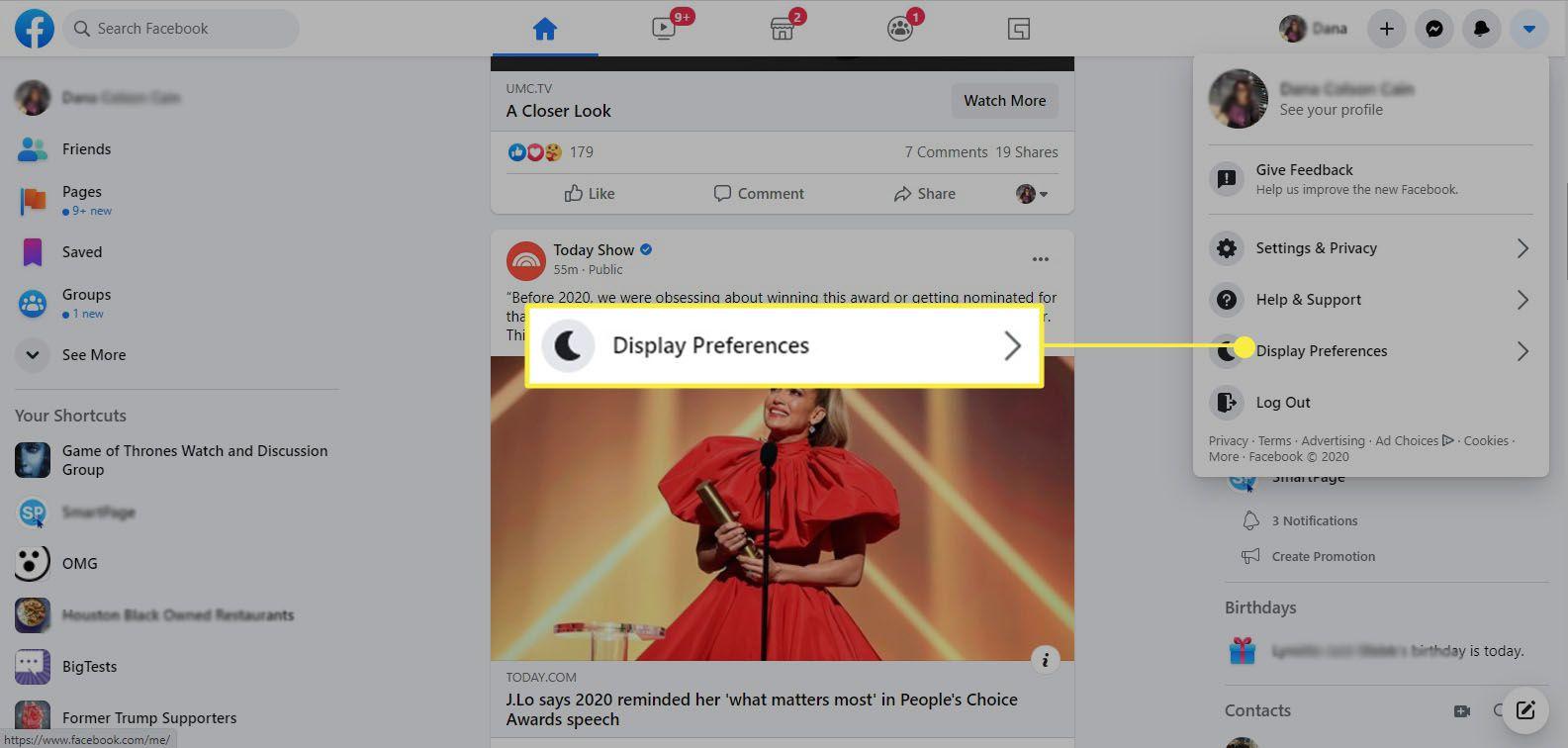 Facebook - Display Preferences