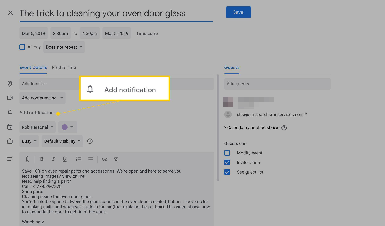 Add notification button in Google Calendar