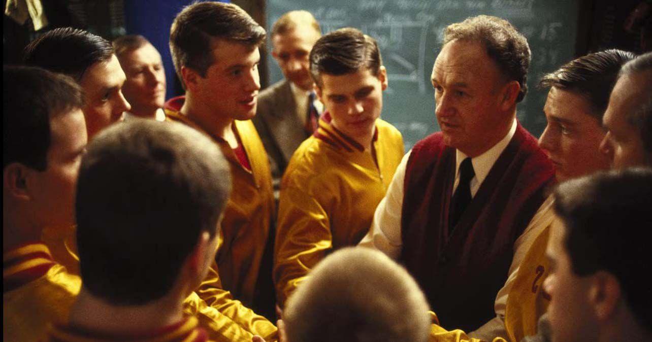 Gene Hackman, Dennis Hopper, Steve Hollar, Wade Schenck, Scott Summers, Maris Valainis, and Brad Long in 'Hoosiers'