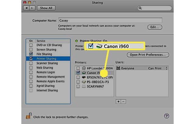 Select a printer for sharing