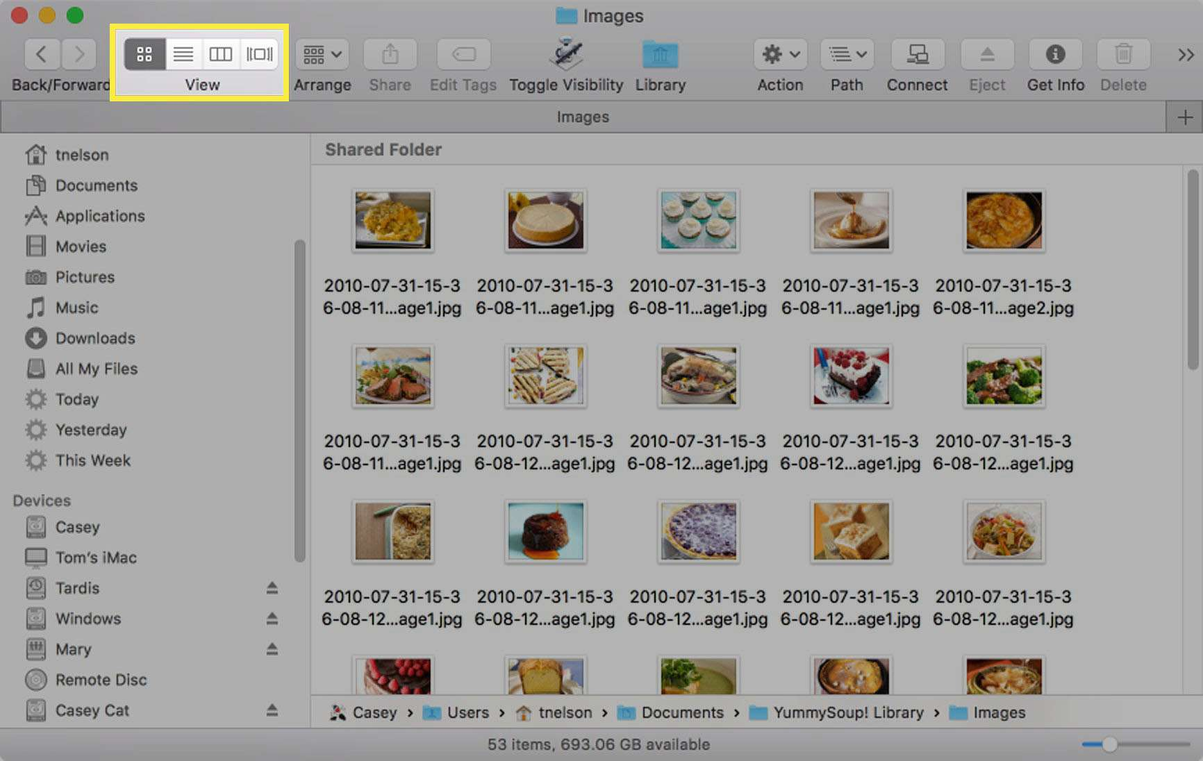 Finder views are selected by four buttons in the toolbar
