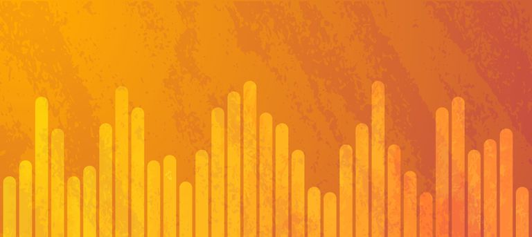 Audio track waveform on orange background