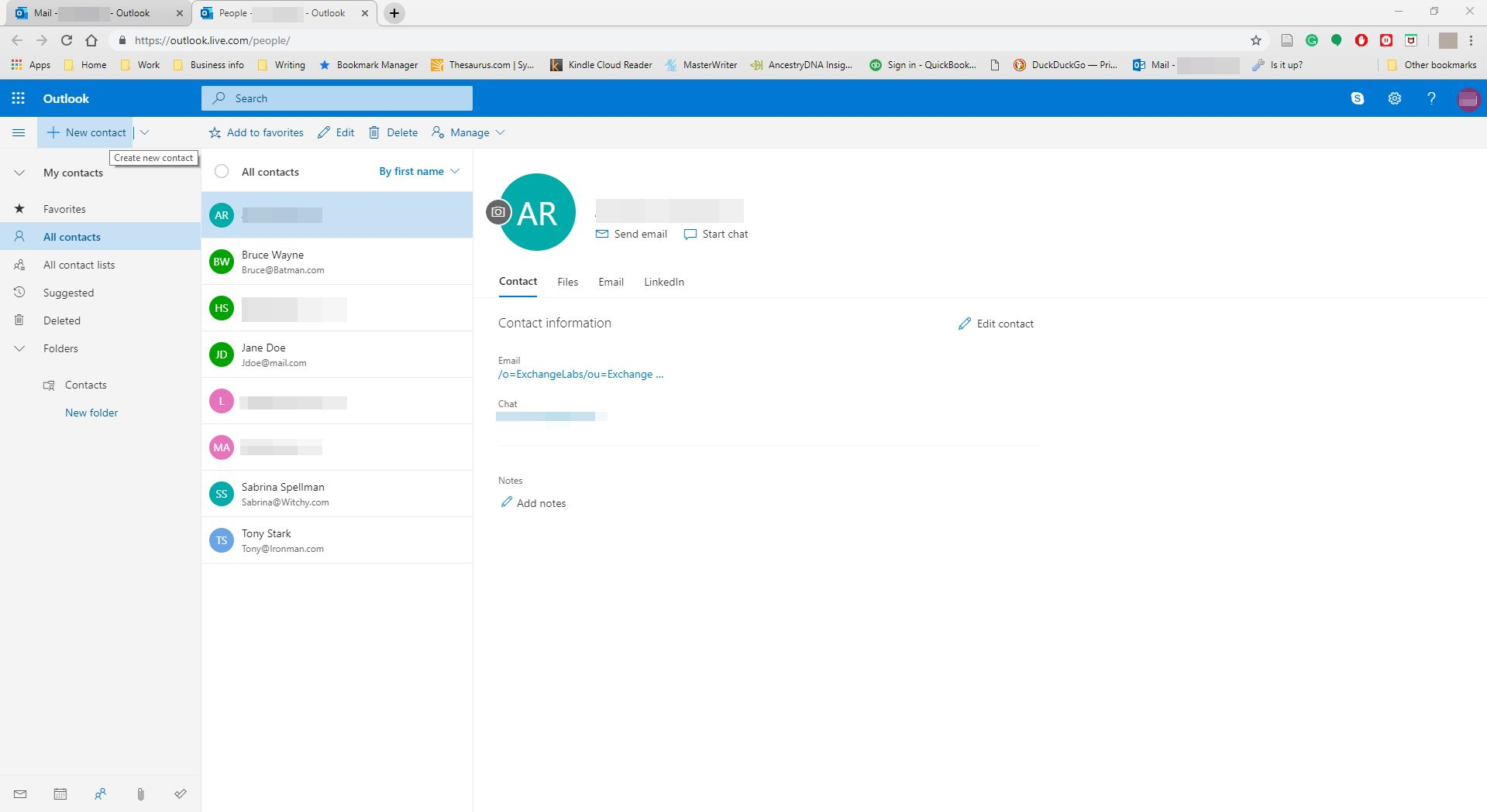 Selecting to create a new contact in Outlook.com