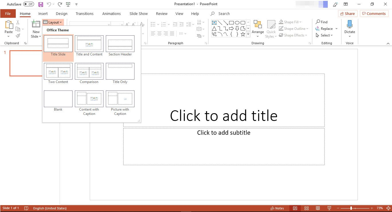 MS PowerPoint with layout options displayed