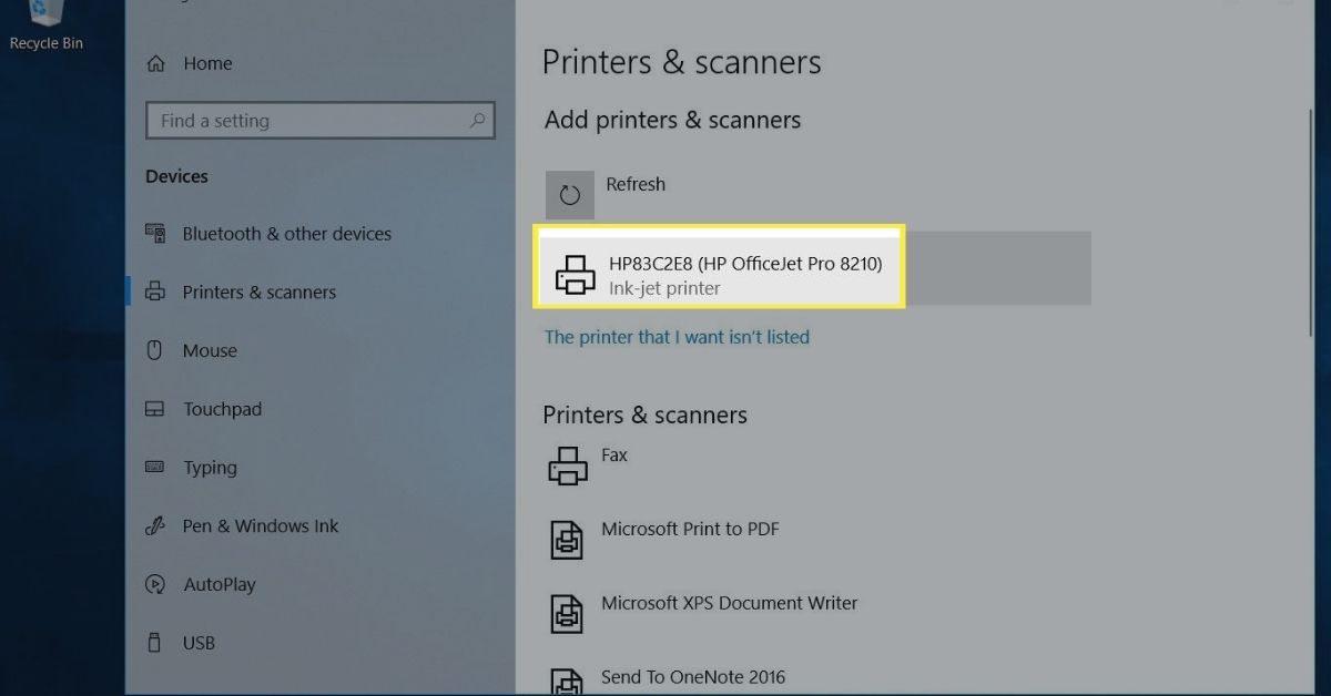 Printer selection in Printers & scanners on Windows 10