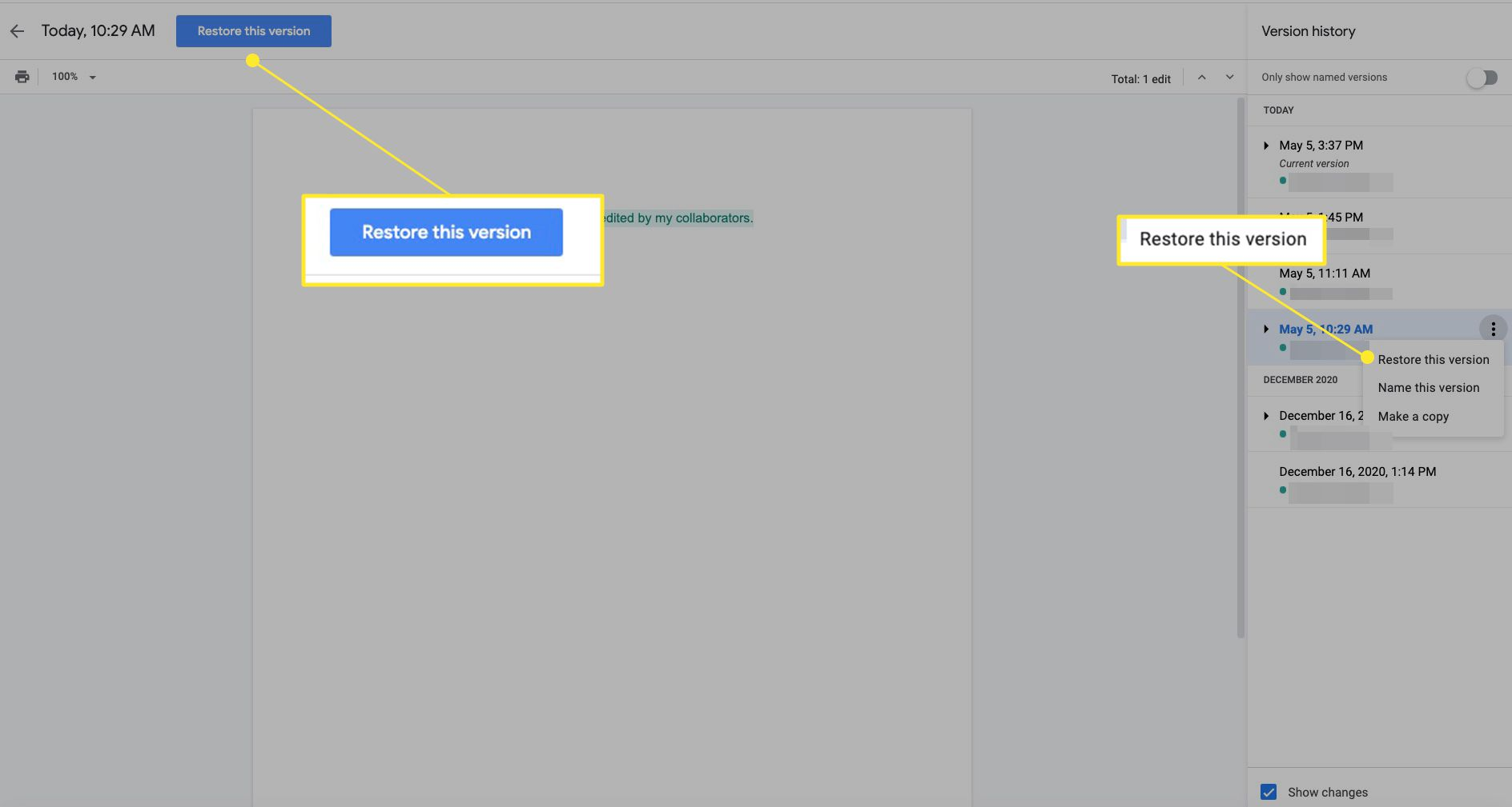 Google Doc with Restore this version highlighted in two places