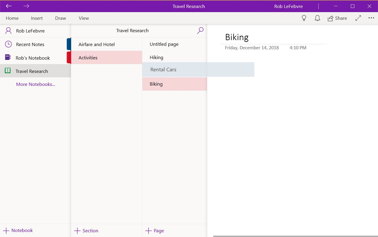Moving a OneNote page from one Notebook to another
