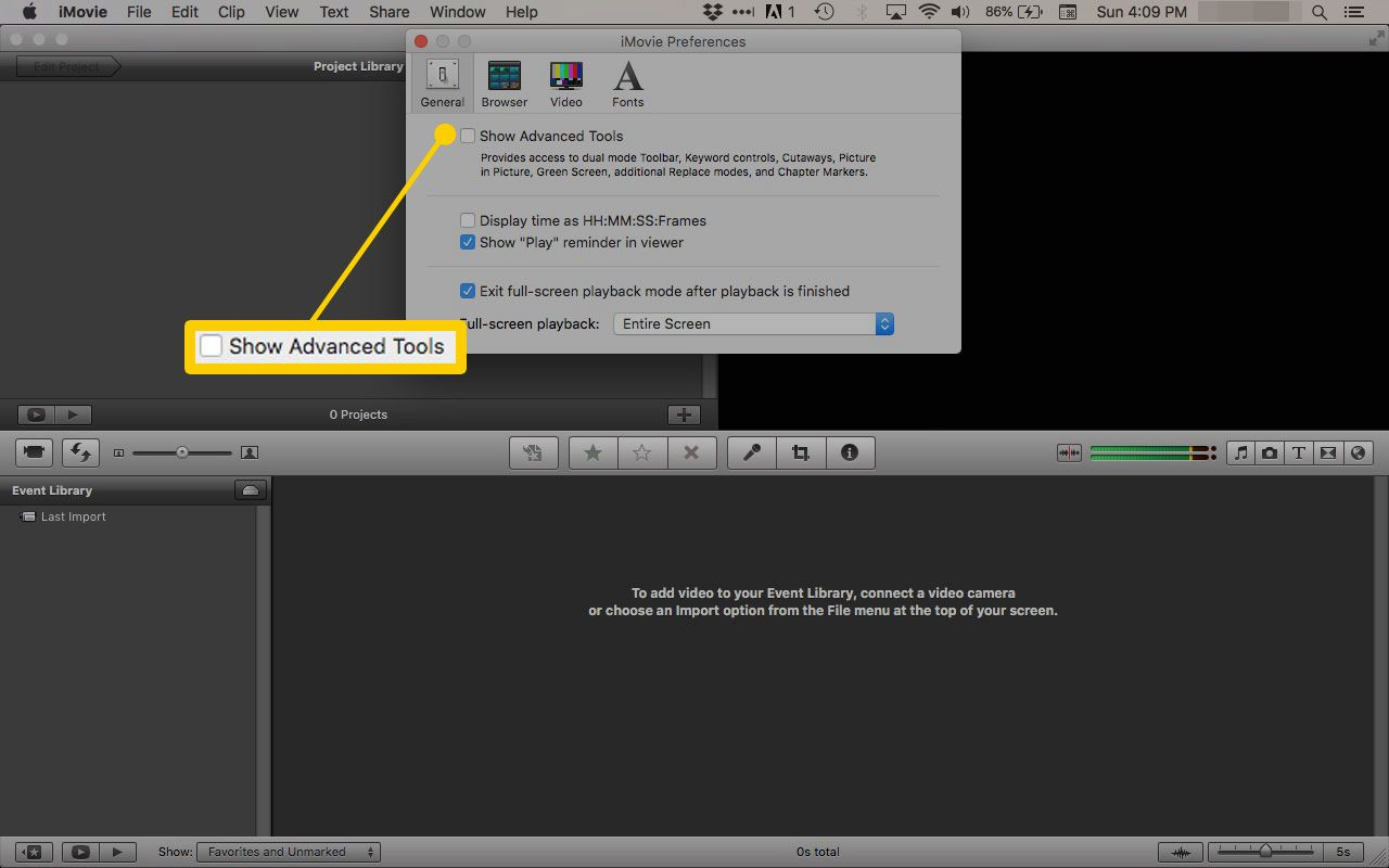 How to Enable iMovie Advanced Tools