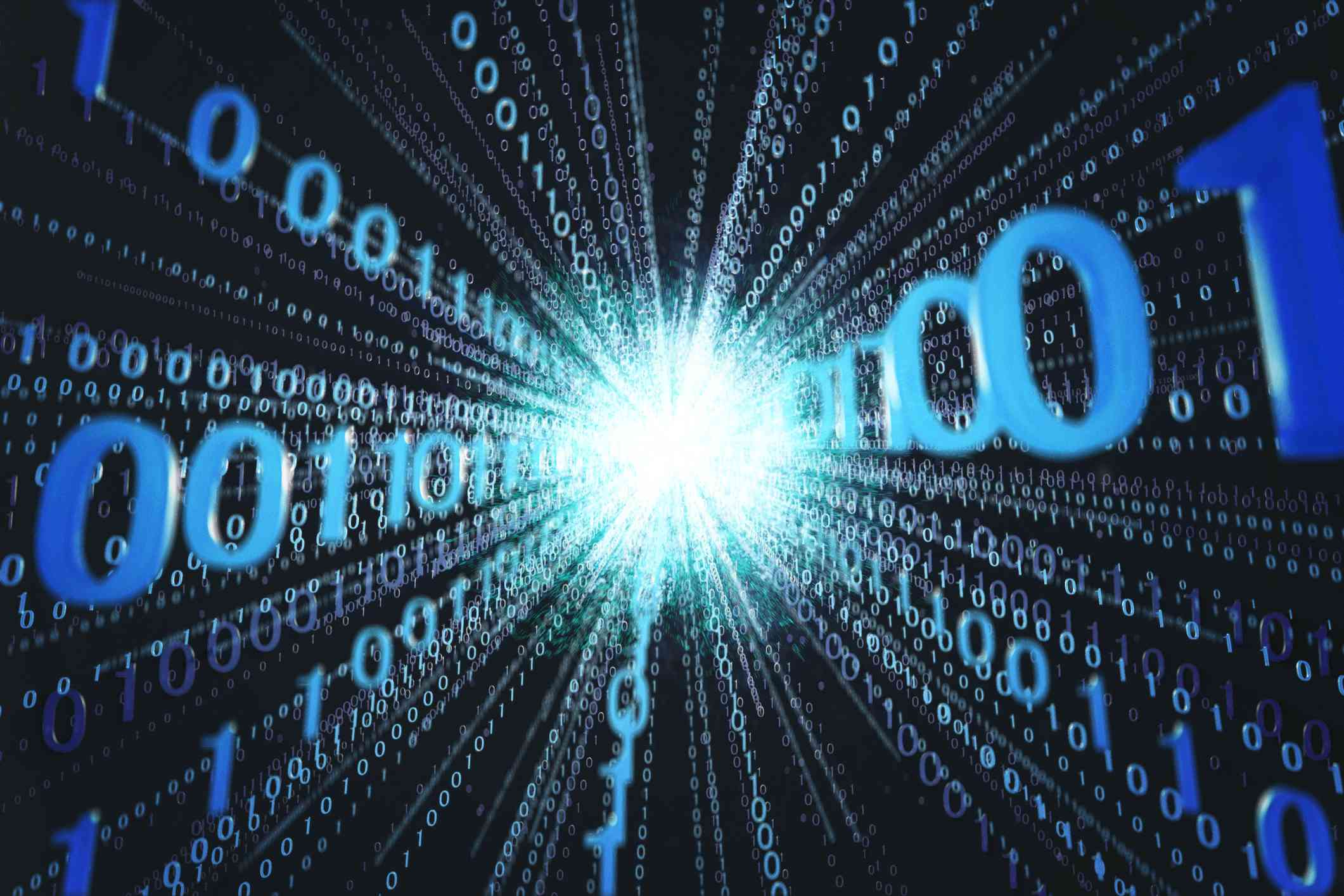 Binary code running out from computer calculating