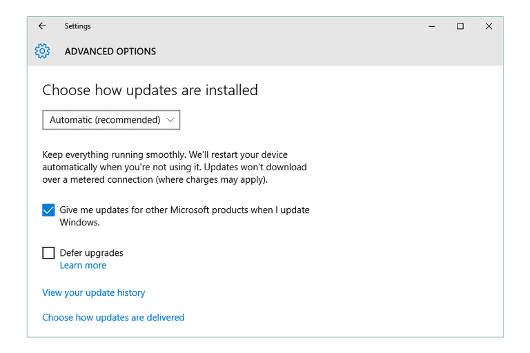 How to change windows update settings windows 10 8 7 screenshot of the advanced windows update screen in windows 10 ccuart Image collections