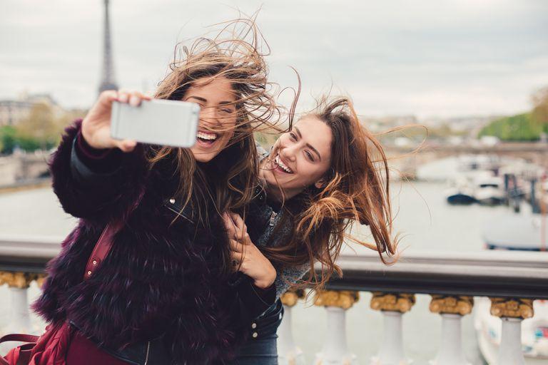 Girls enjoying vacation in Paris