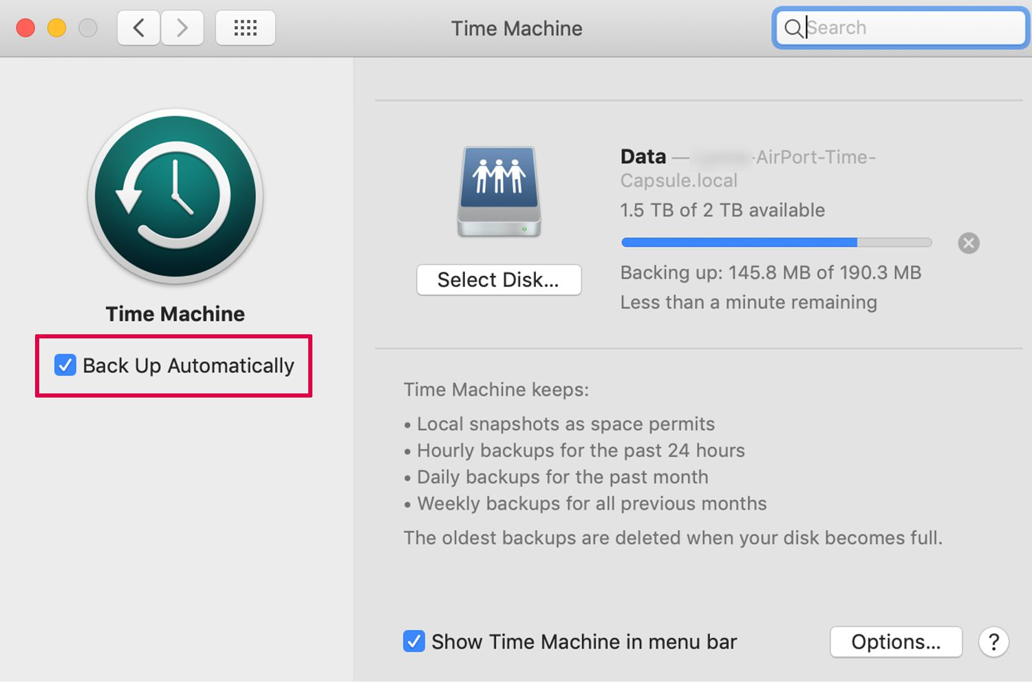 time machine backup failed not enough space