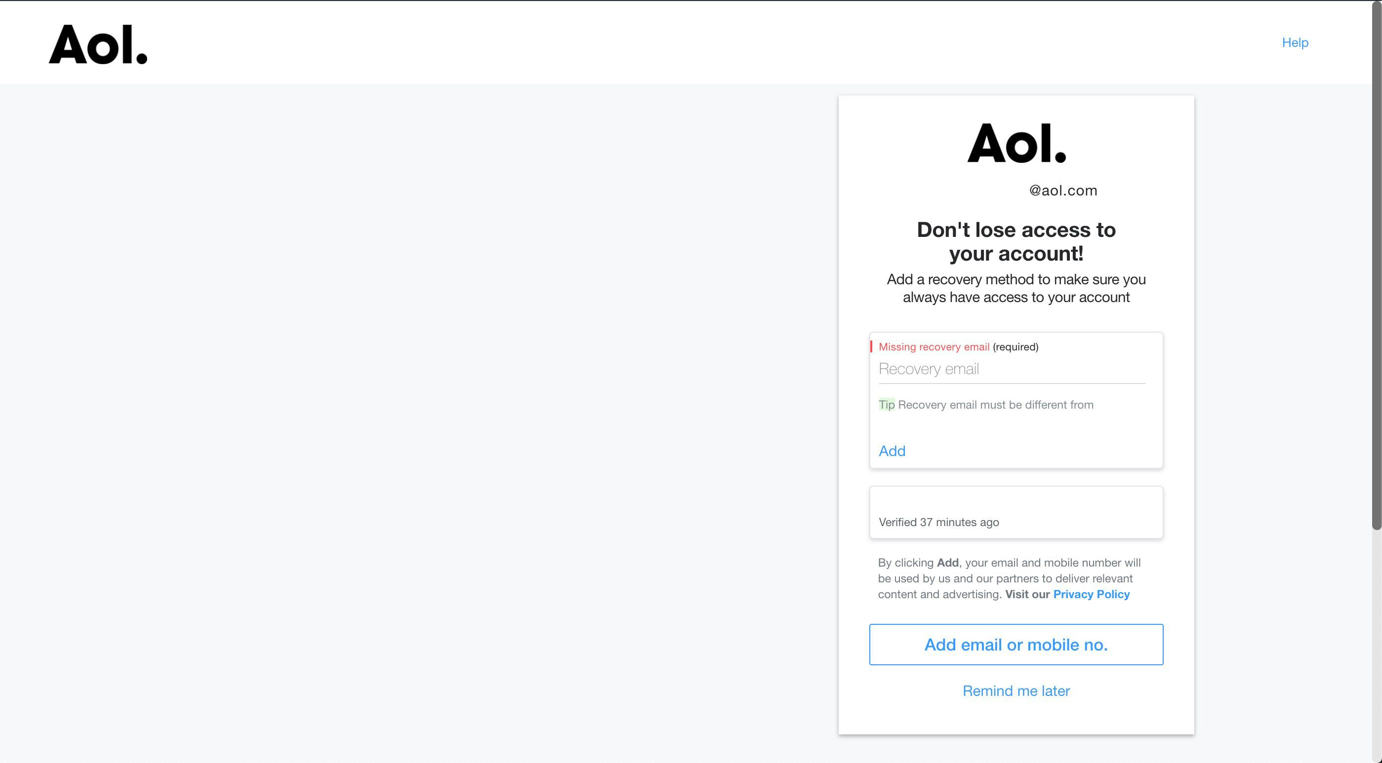 Recovery options on AOL