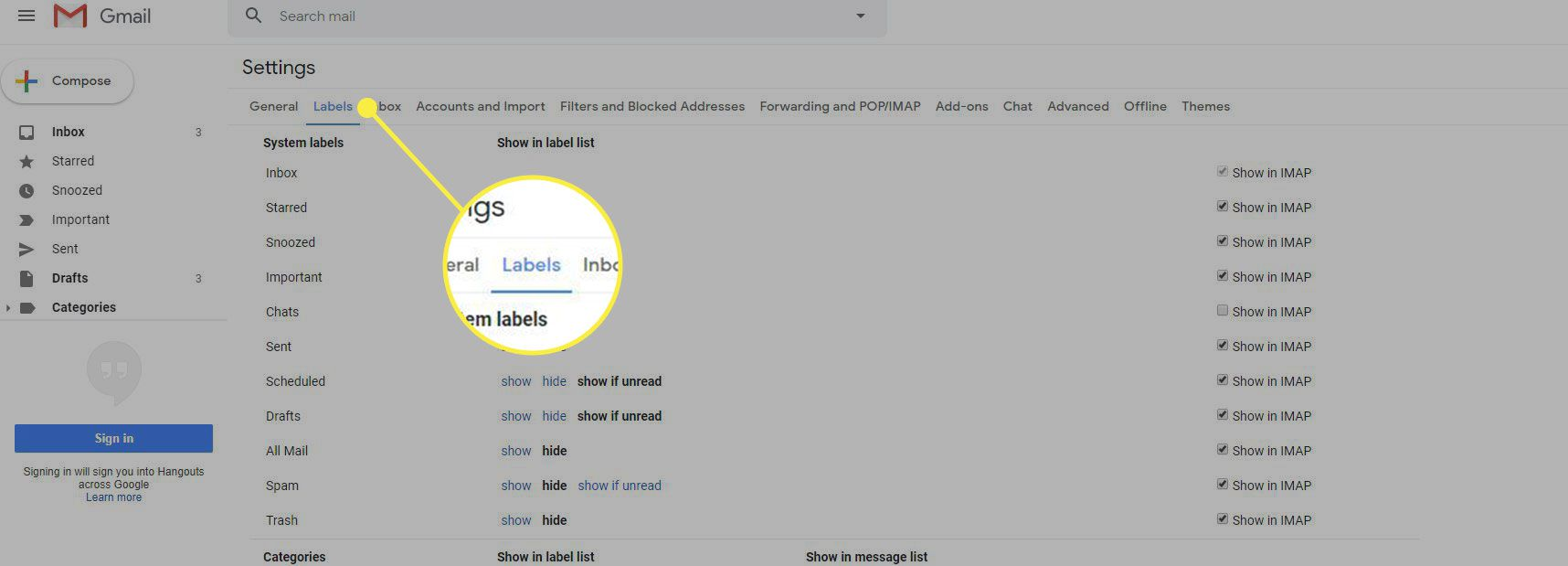 A screenshot of Gmail settings with the Labels heading highlighted