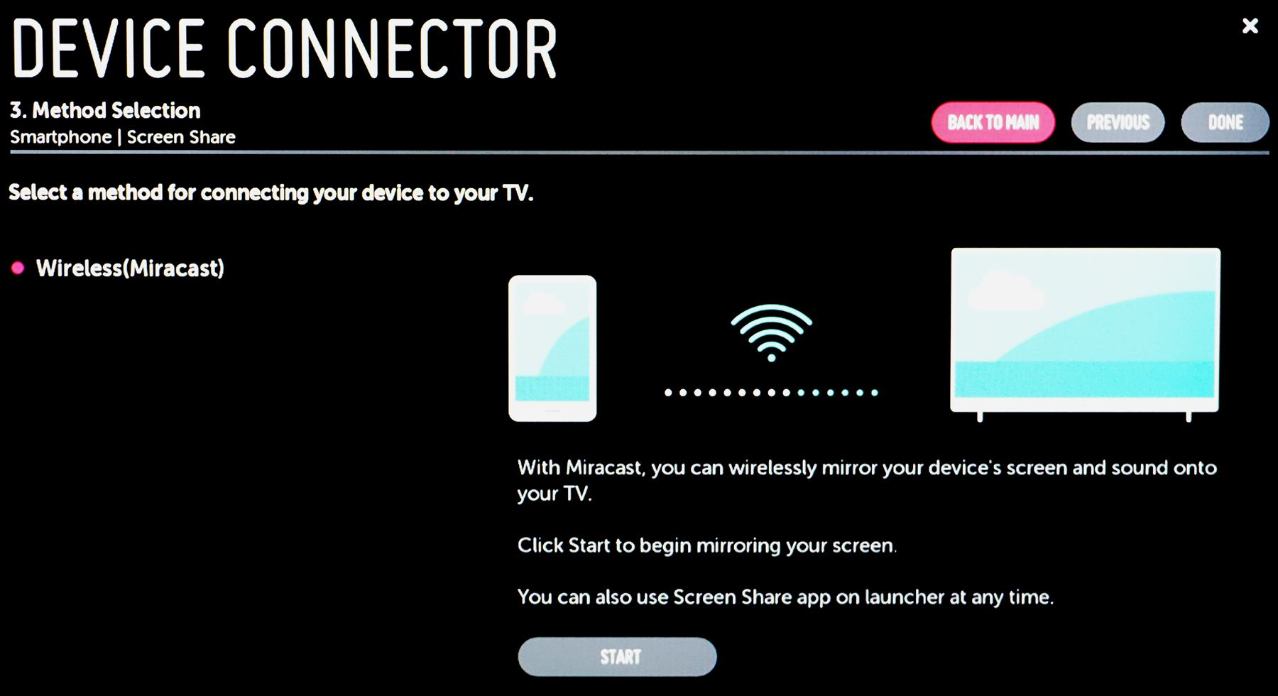 Mirroring Smartphone to LG TV with Miracast