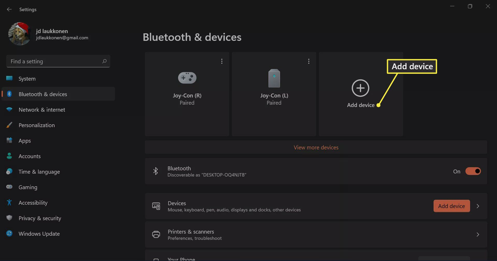 + Add device highlighted in Bluetooth & devices in Windows 11