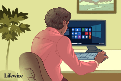 Person on a PC with a Windows Start screen