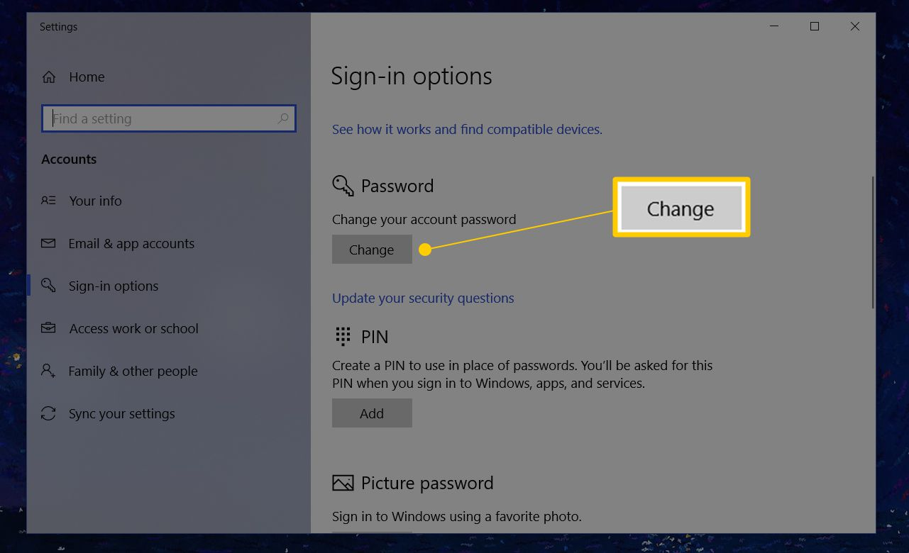 How To Change Your Pword In Windows 10 8 7