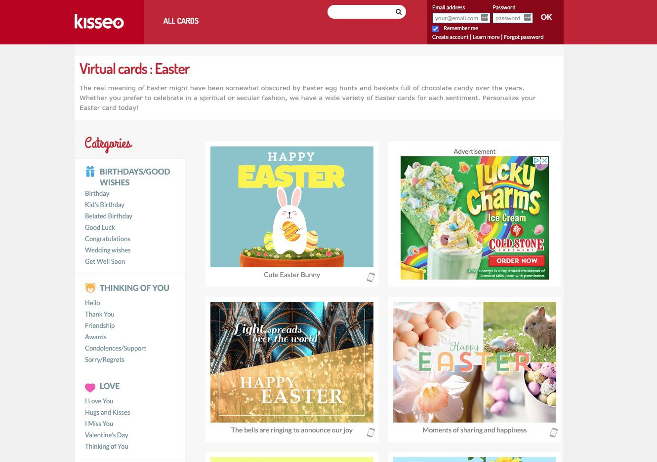 Kisseo free Easter greeting e-cards