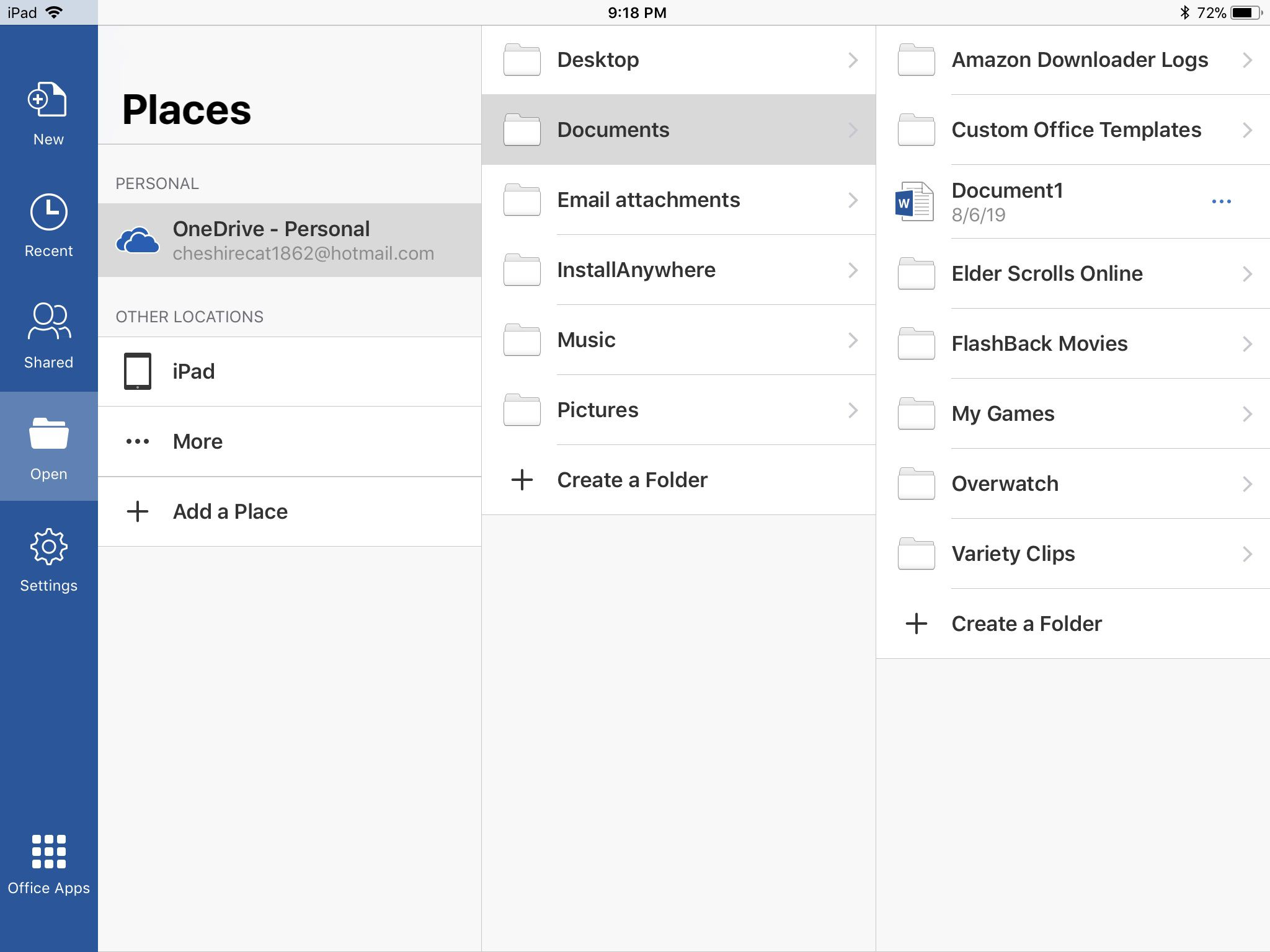 Screenshot of files in Microsoft Word for iOS