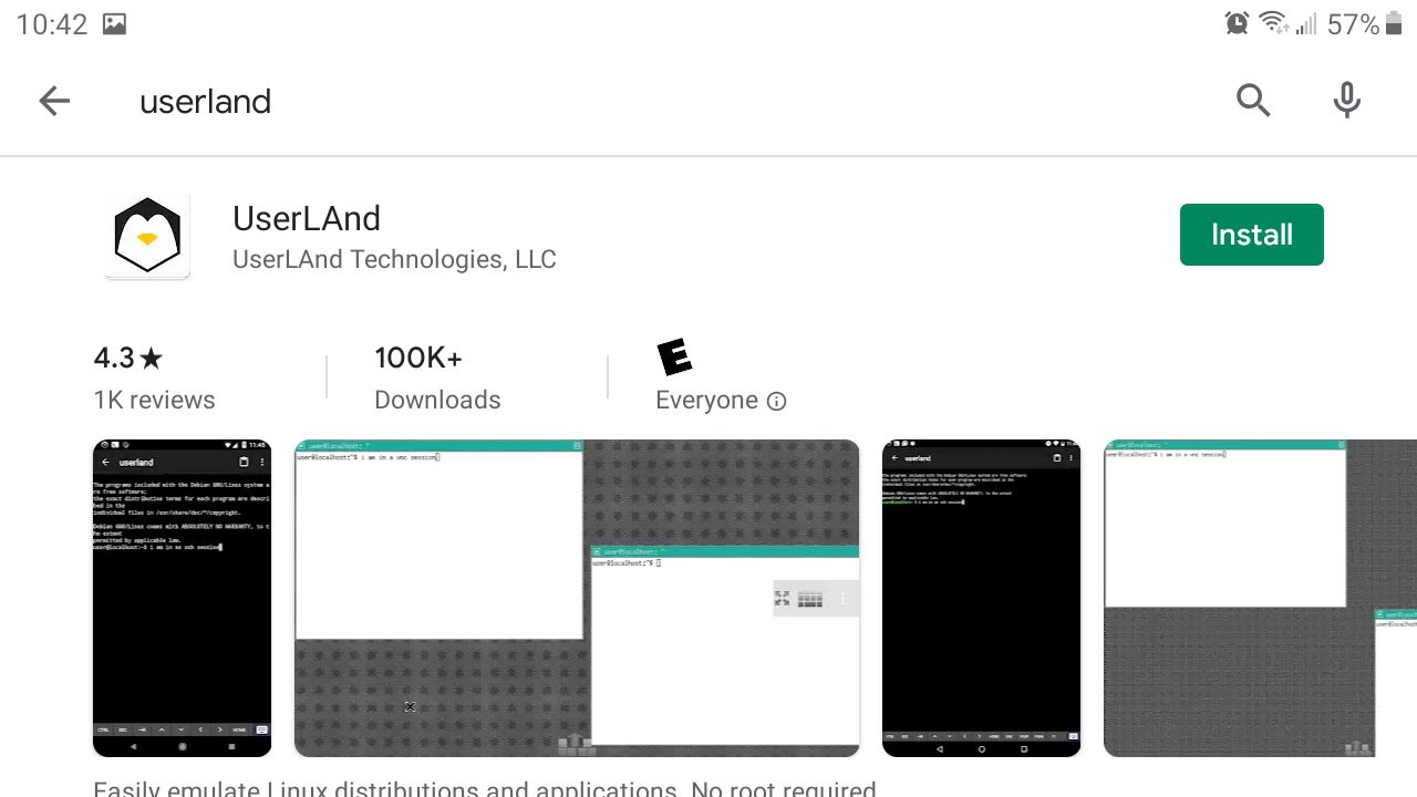 Download and install UserLAnd from the Google Play Store.