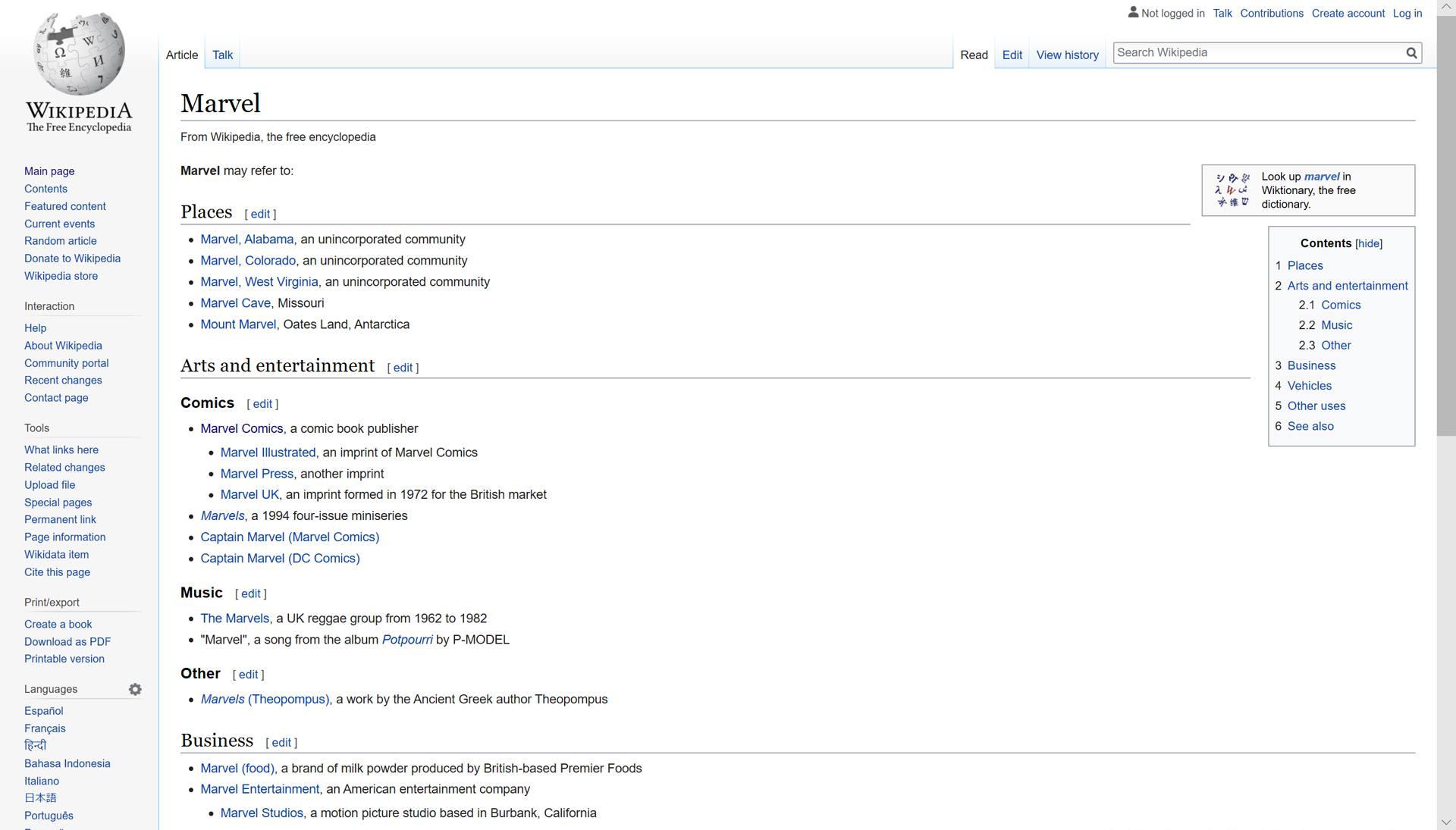 Wikipedia search results.