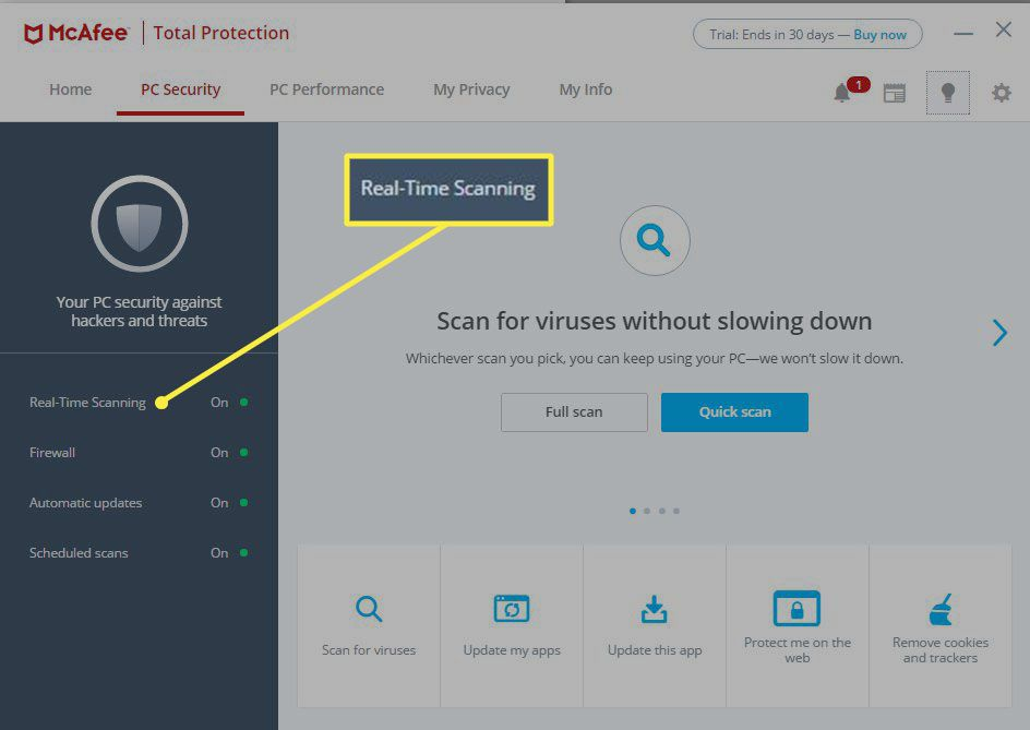 McAfee Total Protection PC Security tab