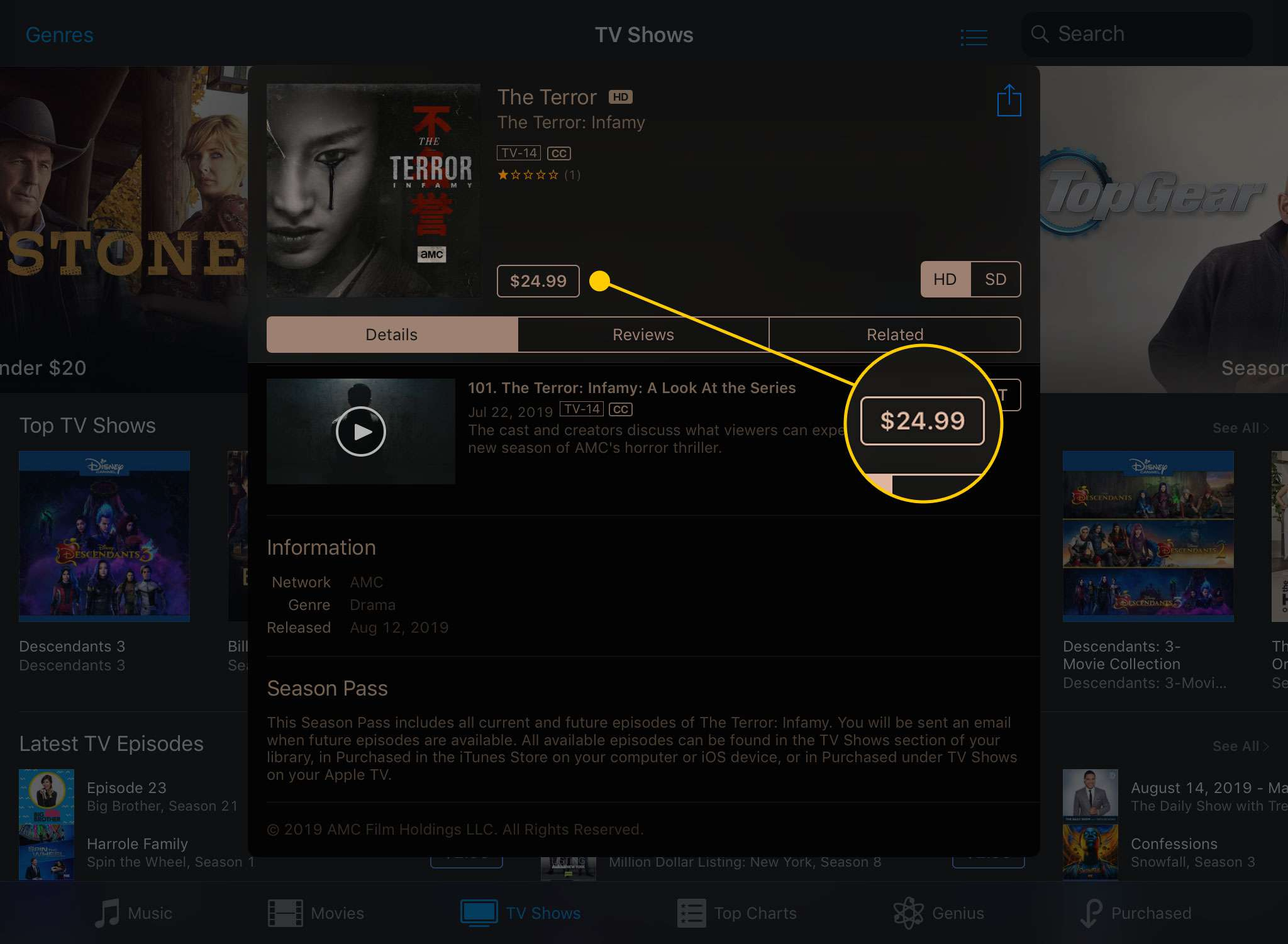 A TV show's page open in the iTunes Store app on an iPad with the price button highlighted