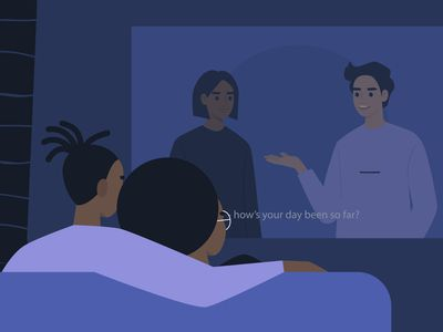 Illustration of a couple watching TV with subtitles on